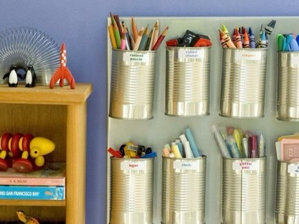 Tin Cans for Art Supplies  Take cleaned up food cans and create art supply storage for the kids.
