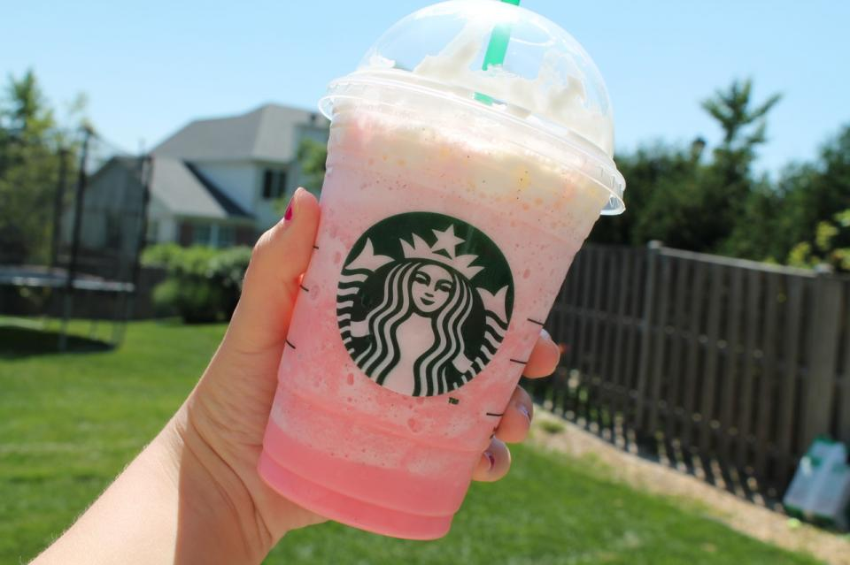 Cotton Candy Frappuccino  The Secret:	 Vanilla Bean Frappuccino with 1-2 extra pumps of Raspberry Syrup  How to Order:	Ask your barista for a Vanilla Bean Frappuccino with an extra 1-2 pumps of Raspberry Syrup