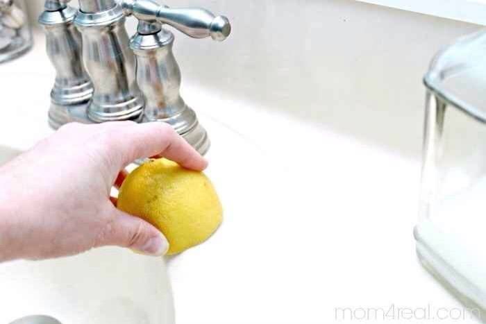 8.Dip a lemon in salt and use it to get rid of lingering rust stains in your sink and sink area.