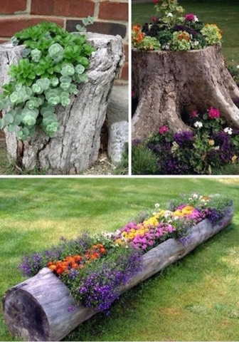 Dig out part of an old tree trunk and place flowers in it