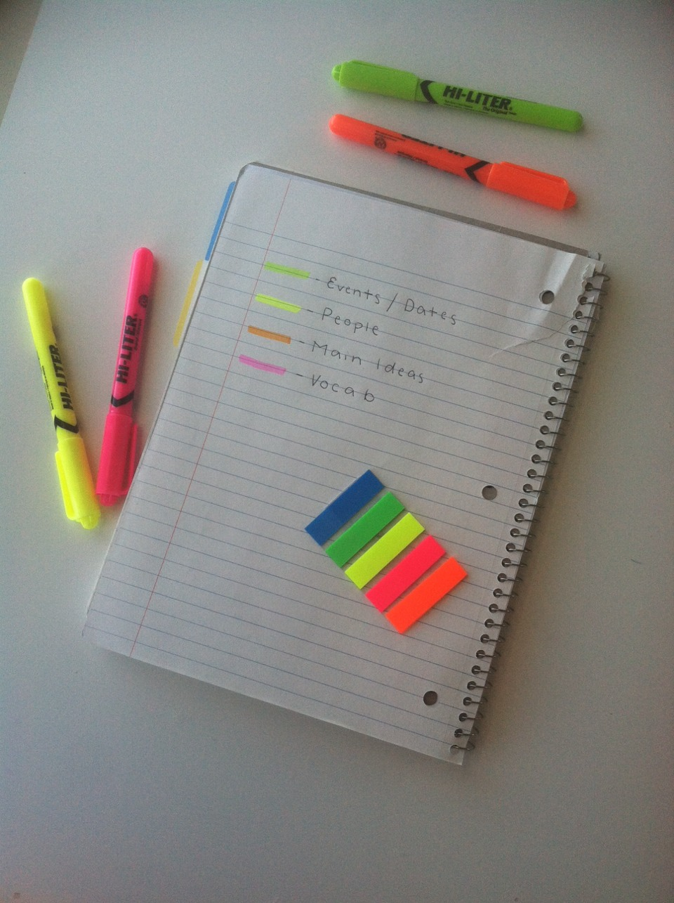 COLOR COORDINATE!! This is how I highlight History, English, and Science notes.
