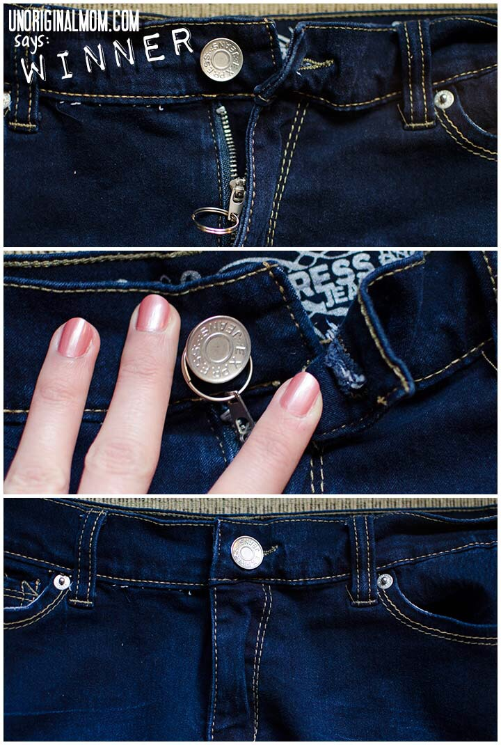 Take a key ring and put it in the little square part of your zipper. Then when you button your pants pull up the zipper and then put the key ring over the button and then stick the button through the material.