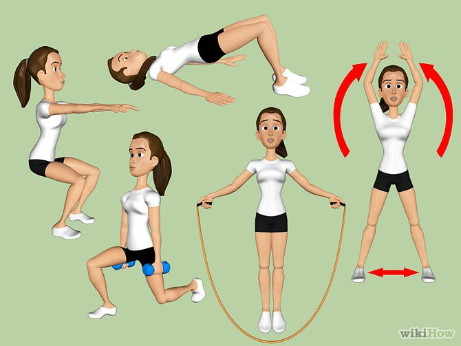 50 Squats.  15 Lunges (each leg) .  50 Butt Bridges. 1 min Jump Rope.  60Jumping Jacks.      Do 3 sets of these exercises
