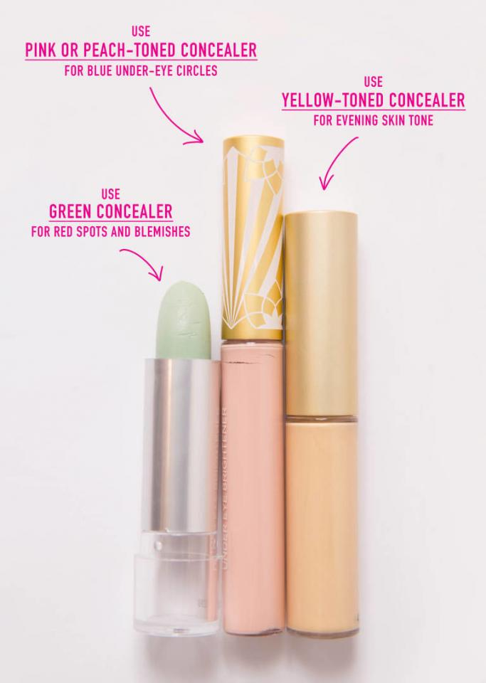 Know what issues different colors of concealer fix.