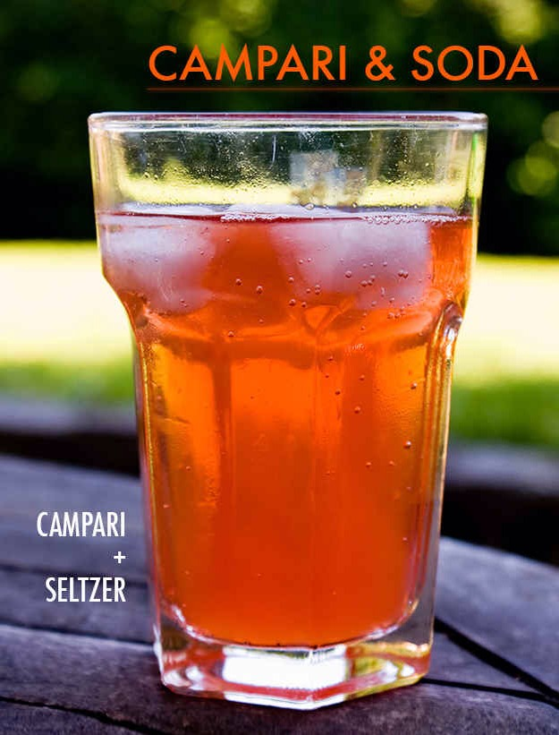 Top one or two shots of Campari with seltzer or club soda and garnish with an orange slice. Also great with Aperol if you don't love the bitterness of Campari.