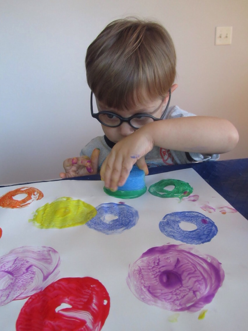 Noodles cut in pieces make great paint stamps!
