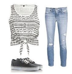Not just the boring old ripped jeans with a tee like this