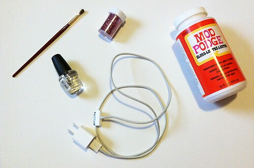What you will need: charger, glue, GLITAA
