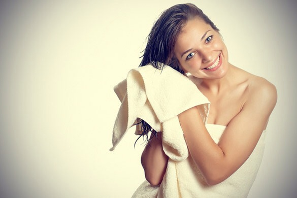 Towel drying your hair