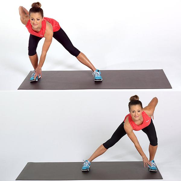 lunge side to side and touch your toe15 reps
