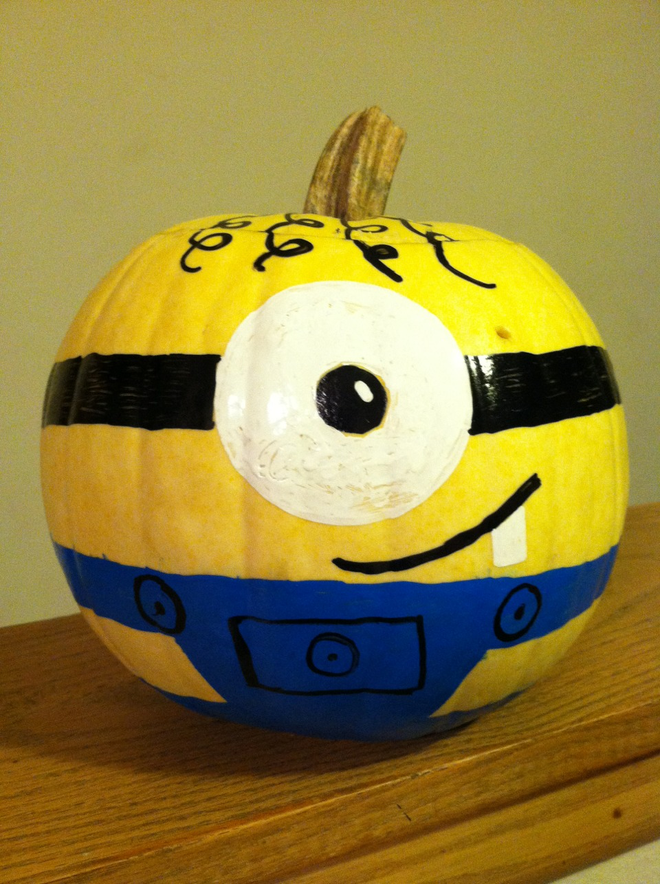 my minion pumpkin painted it with sharpie paint pens by joanne rh musely com minion pumpkin painting template easy minion pumpkin painting