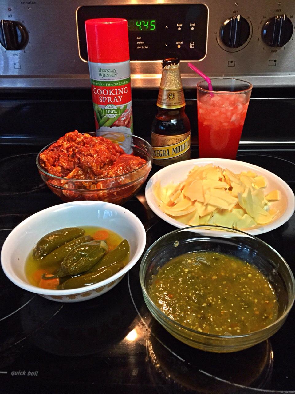 Al Pastor pork, Queso Oxaxaca, Salsa Verde, pickled jalapeños, cooking spray