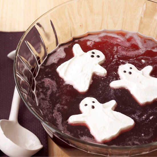 Ghost Punch  This bubbly punch with creamy ghost ice cubes tastes delicious and looks great on a Halloween beverage table. Ghouls and goblins alike will love the fruity flavors.