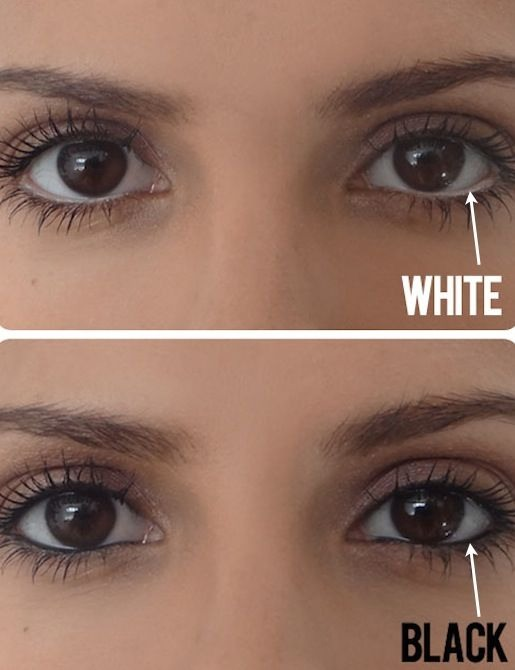 9. Make Eyes Appear Bigger If you don't already own a white pencil, invest in one now just for this simple trick! Instead of lining your water line with dark eyeliner, use a white pencil to create the illusion of a bigger eye.