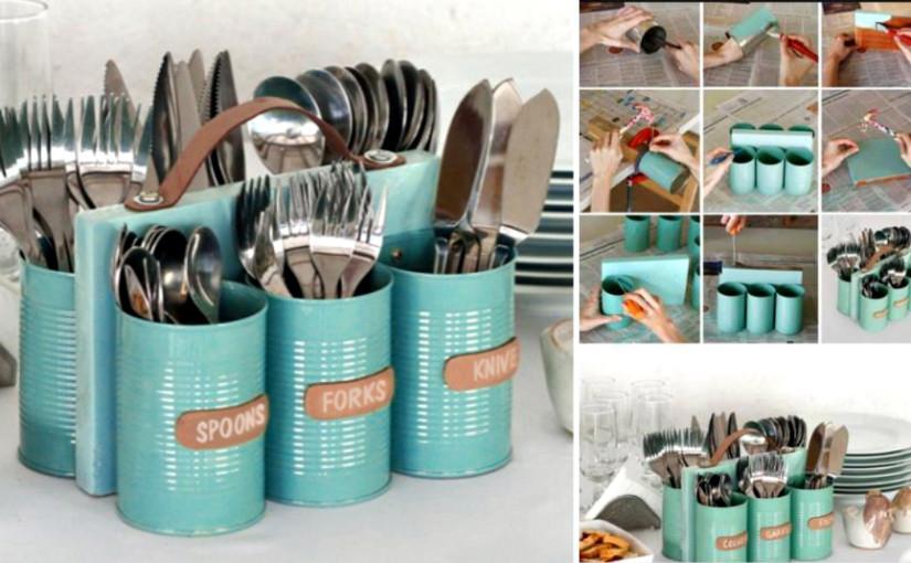 Tin Can Utensil Organizers