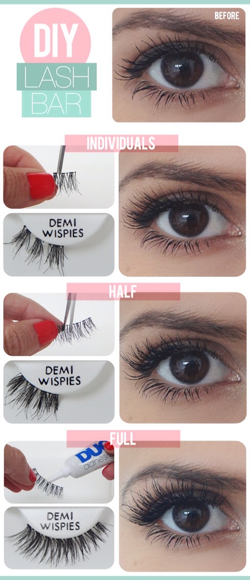 Full lash sets aren't compatible with every eye shape - try individual or half lashes to achieve a more personalized fit, therefore, yielding a more natural look!