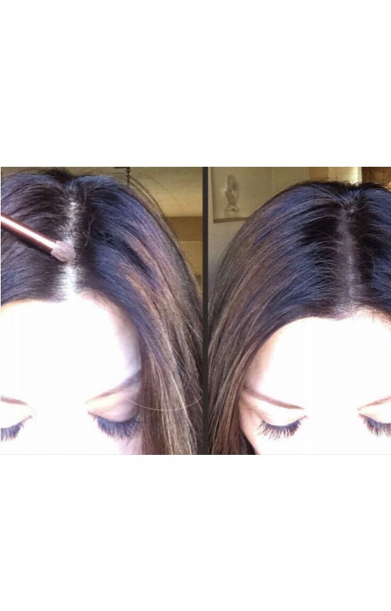Use eyeshadow {colour corresponding with your hair colour} at your hair parting to make hair fuller...{plus no bald spots...😬}