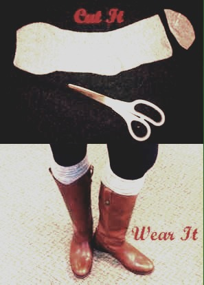 8. Cut the end of your sock to create a more stylish boot look👢🎀 No sewing needed🙈 Just prop the sock evenly above the boot like shown in the image above👆💞