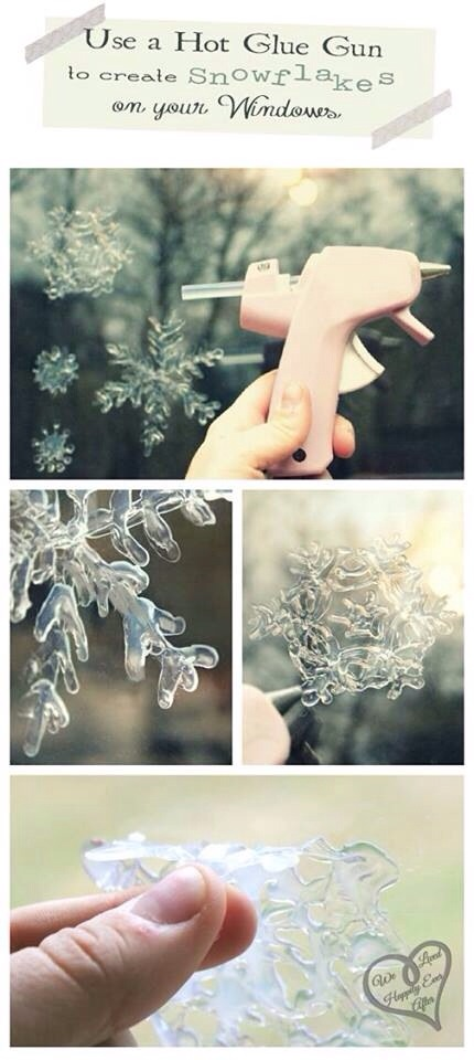 Use a hot glue gun to create different snowflake designs. Wait until it cools and you can peel them off and use as an ornament, gift decoration or other home decoration