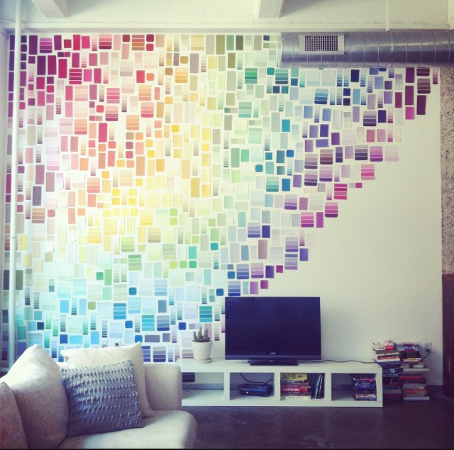 PICK THEM ALL! Hang up paint strips for a neat wall deco!