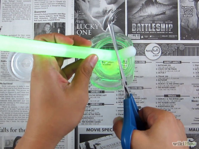 Next cut the glow stick and pour it in the bubbles!!
