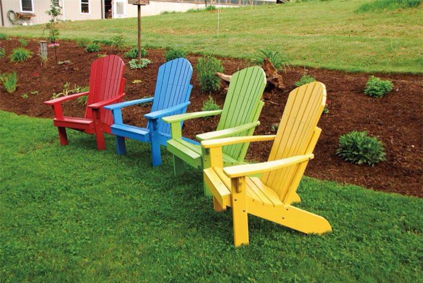 When the sun has gone- your garden looks dull and boring.  Try painting some garden chairs different colours.  Looks fab.