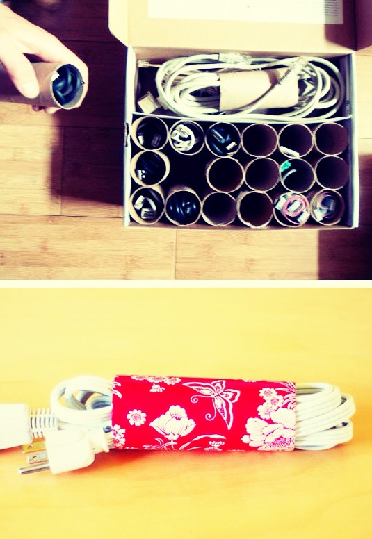 Use paper tubes as a cord organiser 🌀