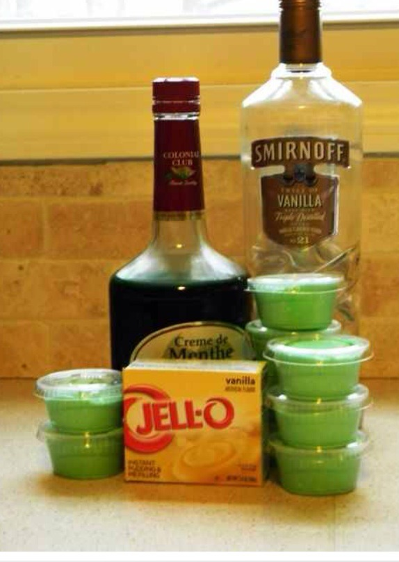 Add as much Creme de Mint and Vanilla Vodka that you would like to your vanilla pudding, put in little plastic ramekins, refrigerate, and viola ! Awesome Party Hordourve!