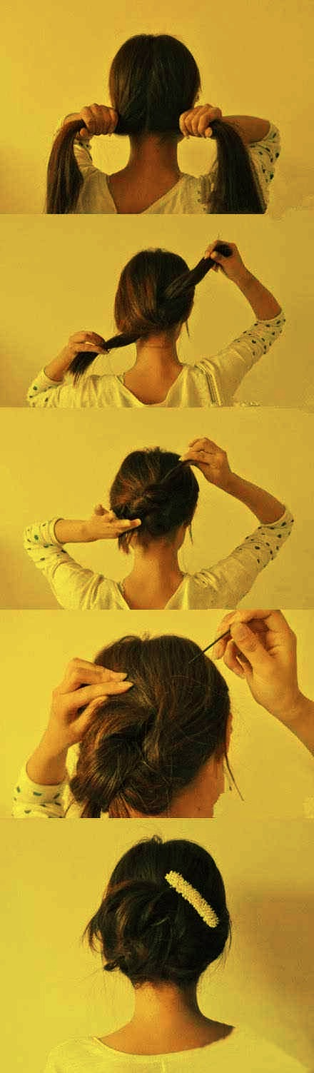 2.. 20-second updo — split, knot, twist, and pin.