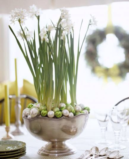 Pretty paperwhites  Place paperwhites in a large compote or bowl. Cover the potting soil with mini ball ornaments in colors that coordinate with your holiday scheme.