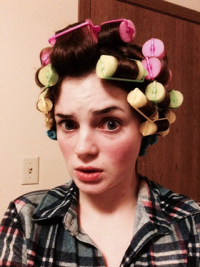 Your hair should look about like this once the rollers are in (if using different sized rollers like me).  You'll want to look crazy like this for at least twenty minutes (though longer is recommended for hair that doesn't hold curls well)