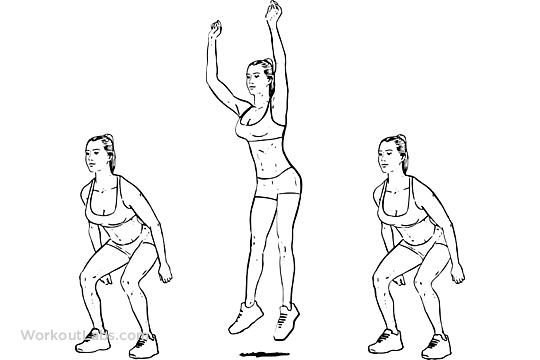jump squats perform as many as you can just like the jumping jacks.