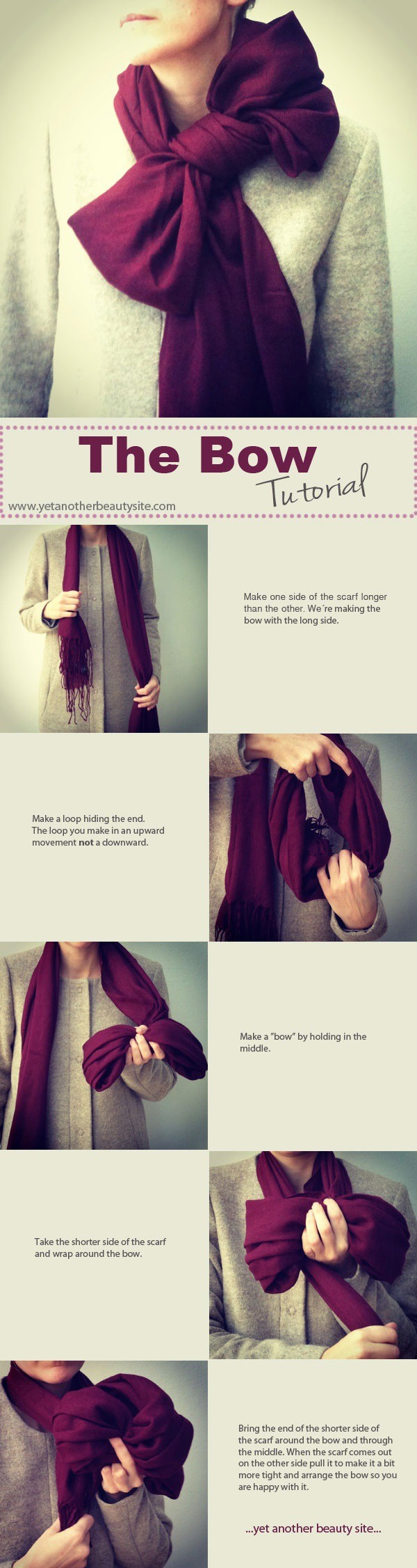 Tie your scarf into a bow for a super glam look.
