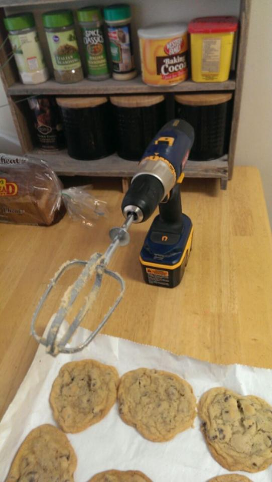 Drills can be made into slightly terrifying mixers.   Modern baking at its finest, folks.