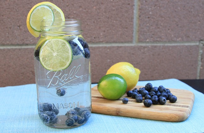 Blueberry-Lime Infused Water 2 cups of water or sparkling water 2 cups of ice 1 cup blueberries, whole 1 1/2 limes, sliced  *Combine all in a large mason jar or jug and drink immediately or let sit in fridge for 1-4 hours to soak in additional flavor.