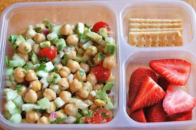 chickpea salad (with avocado, onion, tomato), crackers, strawberries