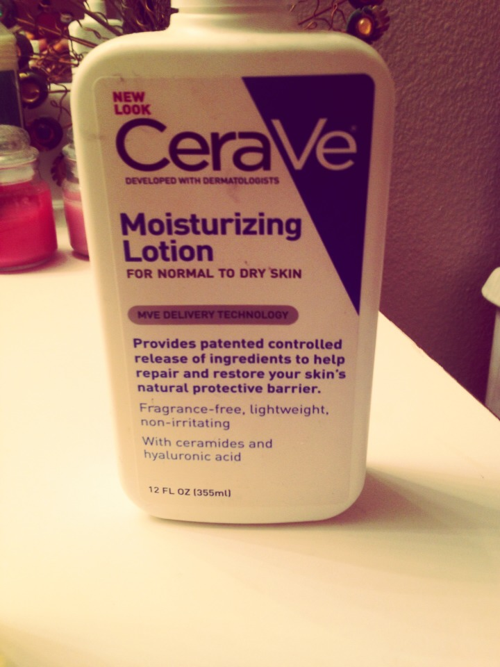 """3rd, and last step, I use """"CeraVe Moisturizing Lotion (for normal to dry skin)"""" and rub that in circular motions around my face."""