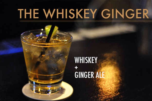 """Top one or two shots of whiskey with ginger ale and garnish with a lemon twist. It's called a """"Horse's Neck"""" if it's served with a long, curly strip of lemon peel."""