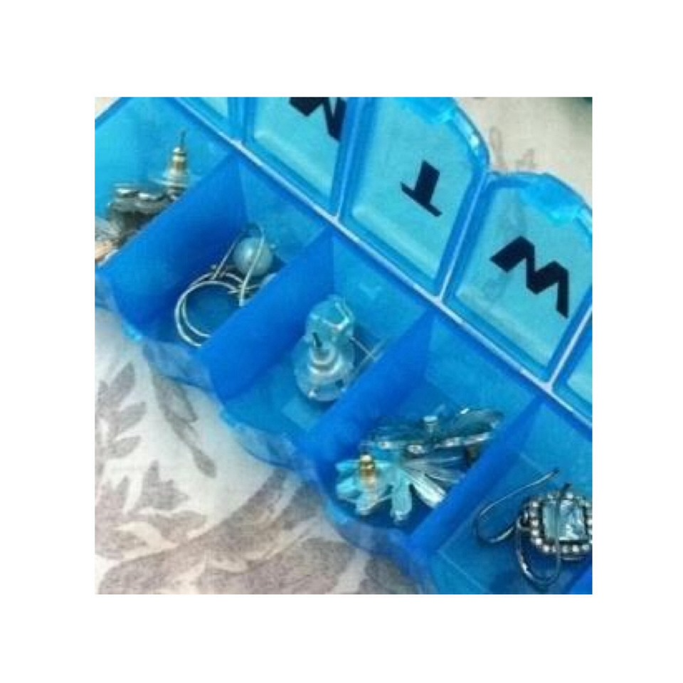 Store earrings in a pill box for safekeeping while traveling. This is also a good way to organize the earrings you'll wear by the day.