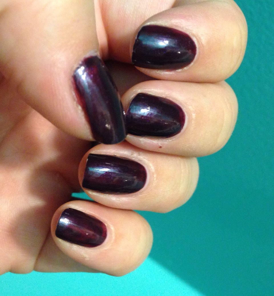Solid dark purple nails , hi gloss finish