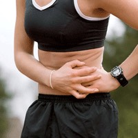 Ever get those sharp pains just below the rib cage that always pop up when you are working out? These are called side stitches; to get rid of it, take your fist and press it beneath your rib cage while taking deep breaths from your belly for about 10 steps, in about 30sec the pain should be gone!