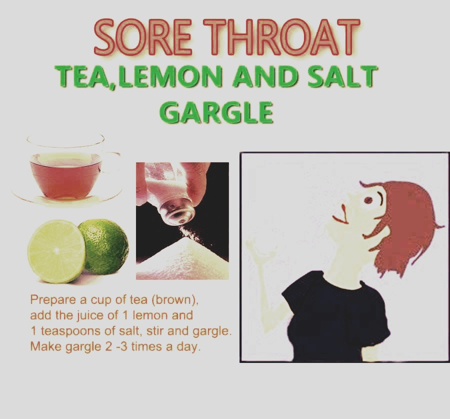 A sore throat cure! This helps you get rid of your sore throat with just tea, lemon, and salt, by just simply gargling it! 💚
