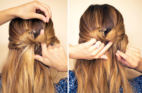 4. Use your fingers to spread out the loop and push it flat against your head into a bow shape. Insert one bobby pin going from top to bottom and one going from bottom to top.