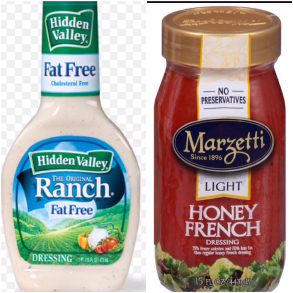 Use light dressing to complement the dressing. I recommend Hidden Valley's Fat Free Ranch dressing. It's 25 calories per serving. Or Marzetti's Honey French dressing. It's 80 calories per serving.