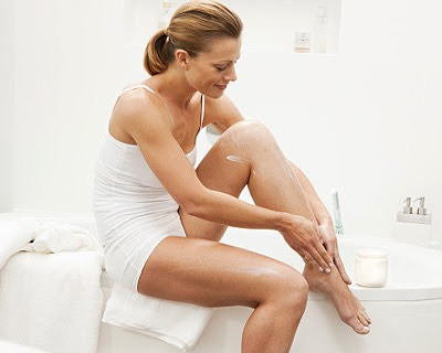 When you exfoliate, you'll want to exfoliate your skin before shaving. Exfoliating before shaving helps raise those little hairs that have been hiding under the surface of your skin so you can easily shave them and get even smoother legs. It's recommended that you exfoliate once or twice a week.