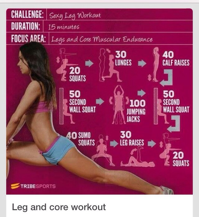 20 squats 30 lunges 40 calf raises 50 second wall squats 100 jumping jacks 50 second wall squat 40 sumo squats 30 leg raises 20 squats