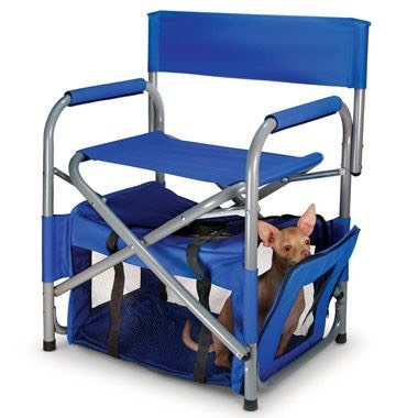 38.Portable Camping Chair and Pet Quarters This is the portable chair with an enclosed cozy compartment under the seat that keeps pets near. Eliminating the need to constantly watch a pet and grab a beer! $99.95