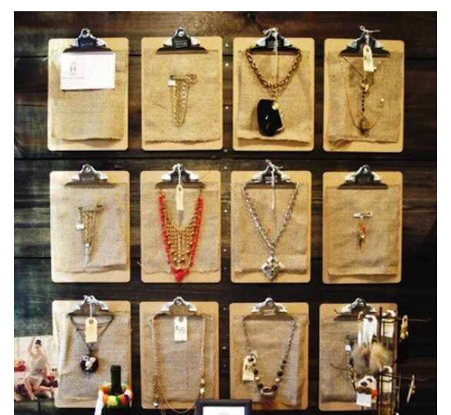 Clipboards are the stylish, artful way to display your necklaces.. Double click to see full image