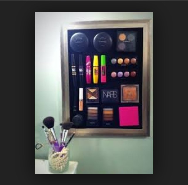 Makeup on a magnet board .  Keeps things organized &' you can see everything .