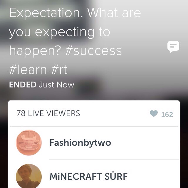"""Just went LIVE on #Periscope - today I talked about """"Expectation. What are you expecting to happen?  Watch replay here:  Follow me on Periscope app ⤵️ 👉🏻👉🏻👉🏻👉🏻👉🏻@VictoryIsInYou  Reply available for 24hours on Periscope.  https://www.periscope.tv/w/aGyajjI4Mjc4MTN8MzU4MDAxNDBZhZe-EgVTUey3t"""